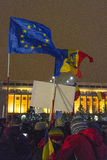 Anti corruption protests in Bucharest. Thousands of people participate in the biggest anti corruption protest since 1989 on February 11, 2017 in Bucharest Stock Photography