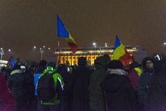 Anti corruption protests in Bucharest. Thousands of people participate in the biggest anti corruption protest since 1989 on February 11, 2017 in Bucharest Royalty Free Stock Image