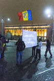 Anti corruption protests in Bucharest. Thousands of people participate in the biggest anti corruption protest since 1989 on February 11, 2017 in Bucharest Royalty Free Stock Photo