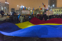 Anti corruption protests in Bucharest. Thousands of people participate in the biggest anti corruption protest since 1989 on February 11, 2017 in Bucharest Royalty Free Stock Photography