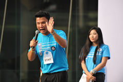 Anti-Corruption Rally in Bangkok. A participant addresses students at an anti-corruption rally organised by the United Nations Development Programme outside Stock Image