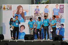 Anti-Corruption Rally in Bangkok. A participant addresses students at an anti-corruption rally organised by the United Nations Development Programme outside Royalty Free Stock Photos