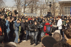 Anti-corruption rally in Moscow March 26, 2017. Sunday, 26 March 2017 in the Russian cities there were mass anti-corruption protests. Rallies were coordinated in Stock Photos