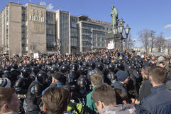 Anti-corruption rally in Moscow March 26, 2017. Sunday, 26 March 2017 in the Russian cities there were mass anti-corruption protests. Rallies were coordinated in Royalty Free Stock Images
