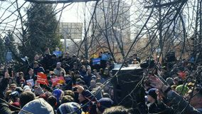 The anti corruption rally in the Park in Russia of the Novosibirsk academic youth theatre `Globus` stock video footage