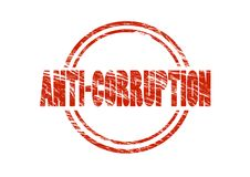 Anti corruption red rubber stamp Stock Photo