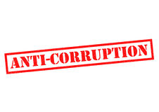 ANTI-CORRUPTION. Red Rubber Stamp over a white background Stock Photos