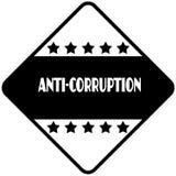 ANTI CORRUPTION sur le label en forme de diamant noir d'autocollant Image libre de droits