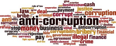 Free Anti-corruption Word Cloud Stock Photography - 165745862