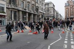 Anti-Cortan protesta en Londres Foto de archivo libre de regalías