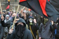 Anti-Cortan protestas en Londres Imágenes de archivo libres de regalías
