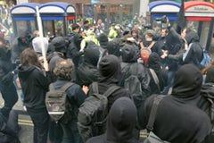 Anti-Cortan protestas en Londres Imagen de archivo