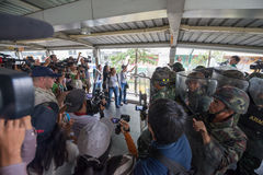 Anti coup arguing with soldiers Stock Photo