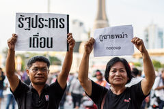Anti Coup Protest THAILAND 25/5/2014. Protesters holding anti-coup signs in front of Victory Monument, Bangkok on 25/5/2014 Stock Image