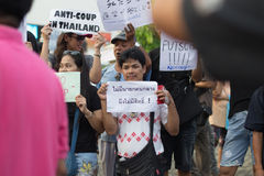 Anti coup in Thailand. Anti coup at Victory Monument Thailand Royalty Free Stock Photos