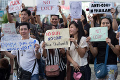 Anti coup in Thailand. Anti coup at Victory Monument Thailand Royalty Free Stock Images