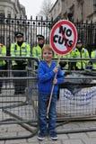 Anti-Coupent la protestation à Londres Photo stock