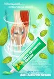 Anti crema di artrite con l'insegna di promozione della menta royalty illustrazione gratis
