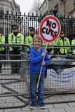 Anti-Cuts Protest in London. An unidentified child protests outside Downing Street during a large TUC organised anti-cuts rally on March 26, 2011 in London, UK Stock Photo