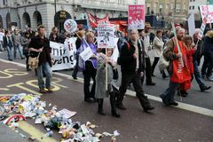 Anti-Cuts Protest in London Royalty Free Stock Image