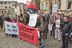 Anti-Cuts Protesters listen to speaches in Exeter Stock Photography