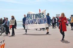 Anti démonstration d'austérité, Hastings Image stock