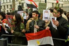 anti demonstration london mubarak Royaltyfria Foton