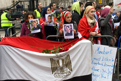 anti demonstration london mubarak Royaltyfri Fotografi