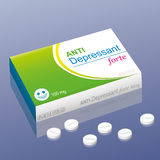 Anti Depressant forte pills. Pills named Anti Depressant forte with a smiling pill as the brand logo on the packet. It is a medical fake product, which alludes Stock Image