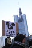 Anti dimostrazione di ACTA a Francoforte Fotografia Stock Libera da Diritti