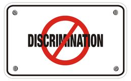 Anti discrimination rectangle sign. Suitable for public sign royalty free stock photography