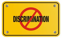 Anti discrimination yellow sign - rectangle sign royalty free stock photography