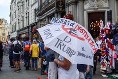 Anti-Donald Trump Protest in Central London. London,UK: 13th July 2018:Thousands of anti-Donald Trump protesters descended on central London in the summer heat stock image