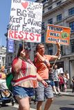 Anti-Donald Trump Protest in Central London. London,UK: 13th July 2018:Thousands of anti-Donald Trump protesters descended on central London in the summer heat stock photos