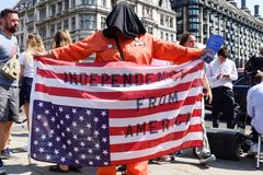 Anti-Donald Trump Protest in Central London. London,UK: 13th July 2018:Thousands of anti-Donald Trump protesters descended on central London in the summer heat stock photography