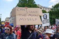 Anti-Donald Trump Protest in Central London. London,UK: 13th July 2018:Thousands of anti-Donald Trump protesters descended on central London in the summer heat royalty free stock image