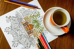 Anti-Druckmalbuch im Zeichnungsprozeß Lizenzfreies Stockbild
