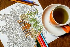 Anti-Druckmalbuch im Zeichnungsprozeß Stockbilder