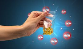 Anti-drug concept and hand giving pills Royalty Free Stock Photo