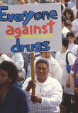 Anti-drug marchers. Carrying signs, East Los Angeles, CA Stock Image