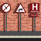 Anti drug Message. Three road signs portraying anti drug message Stock Illustration
