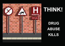 Anti drug Message. Three road signs portraying anti drug message Stock Image