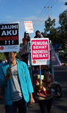 Anti-drug rally. Activists do anti drug rallies in the town of Solo, Central Java, Indonesia Stock Photography