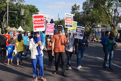 Anti-drug rally. Activists do anti drug rallies in the town of Solo, Central Java, Indonesia Royalty Free Stock Photos