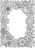 Anti-effort de livre de coloriage de vecteur pour des adultes Éléments de griffonnage Trame florale décorative illustration libre de droits