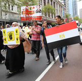 Anti-Egyptian Government protestors in Sydney Stock Photos