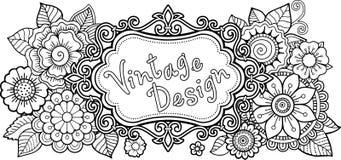 Anti-esforço do livro para colorir para adultos Cartão griting do vintage com elementos do flover ilustração do vetor
