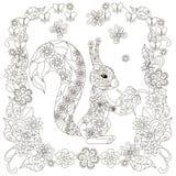 Anti esquilo do sumário do esforço com porca, quadro de florescência quadrado ilustração stock