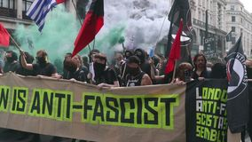 Anti Facist Protest in Central London stock footage