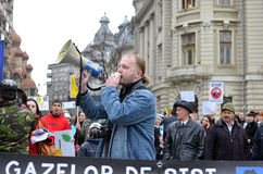 Anti Fracking Demonstration and against Rosia Montana Gold Corporation Stock Photography